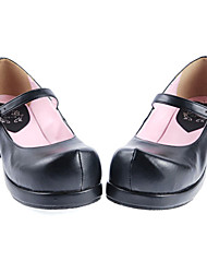 Handmade Black PU Leather 4.5cm High Heel Classic School Lolita Shoes