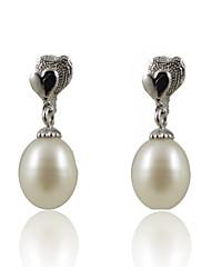 Einzigartige 925 Sterling Silver Pearl Drop Earrings