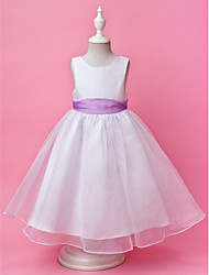 A-line Princess Floor-length Flower Girl Dress - Organza Satin Jewel with Buttons Draping Sash / Ribbon