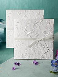 Sample White Embossed Spring Flowers Wedding Invitation (One Set)