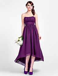 LAN TING BRIDE Asymmetrical Strapless Spaghetti Straps Bridesmaid Dress - Open Back Sleeveless Chiffon