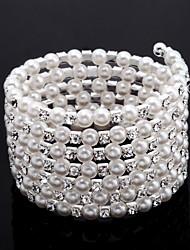 elegante dames 'strass Strand / tennis armband in witte parel
