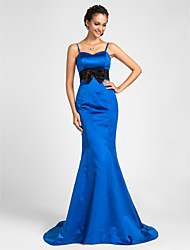 Sweep/Brush Train Satin Bridesmaid Dress - Royal Blue Plus Sizes / Petite Trumpet/Mermaid Sweetheart / Spaghetti Straps