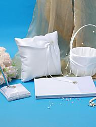 collection de mariage élégant situé en satin blanc (4 pièces)