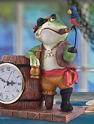 Pirate Frog Polyresin Tabletop Clock