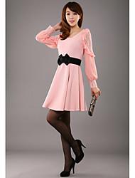 Damen Kleid - A-Linie / Skater Solide Chiffon Rundhalsausschnitt