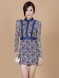 ZHI YUAN Slim Stand Collar High Waist Lace PU Leather Sheath Dress(More Colors)