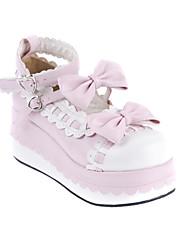 Handmade Белый кожаный 7см Клин Сладкий Обувь Лолита