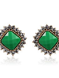 Charming Alloy Crystal Square Green Earrings