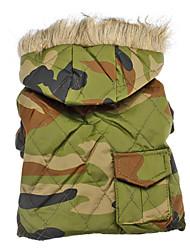 Camuflagem do exército estilo casacos quentes com Hoodies para cães (XS-XXL)