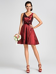 Lanting Knee-length Taffeta Bridesmaid Dress - Burgundy Plus Sizes / Petite A-line / Princess V-neck