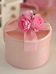 Pink Favor Box With Double Roses (Set of 12)
