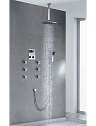 Contemporary Chrome Finish Thermostatic LED Digital Display 8 inch Square Showerhead + Handshower