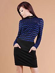 ZHI YUAN Slim Stand Collar Wave Pattern Lace Shirt(More Colors)