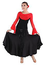 Dancewear Viscose and Tulle Latin Dance Ouftits For Ladies More Colors
