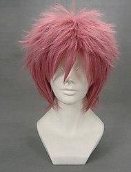 Cosplay Wigs Fairy Tail Natsu Dragneel Pink Short Anime Cosplay Wigs 32 CM Heat Resistant Fiber Male