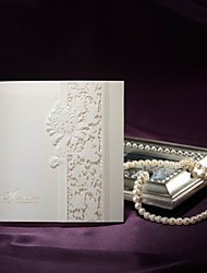 Sample Delicate Ivory Lace Cut-out Tri-fold Wedding Invitation (One Set)