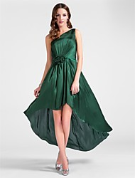 Cocktail Party / Wedding Party Dress - Dark Green Plus Sizes / Petite Sheath/Column One Shoulder Tea-length Satin Chiffon