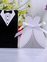 Tuxedo Or Gown Favor Box With White Ribbon (Set of 12)