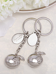 Personalized Apple Design Keyring With Rhinestone (Set of 4 Pieces)