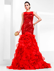 Prom/Formal Evening Dress - Ruby Plus Sizes Trumpet/Mermaid Bateau Court Train Sequined/Organza