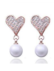 Rose Gold / Platinum Plated coupez le cœur Pearl Earrings (Plus de couleurs)