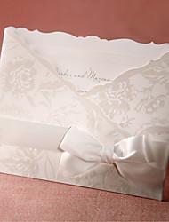 Sample Flora Style Tri-folded Wedding Invitation With White Bow (One Set)