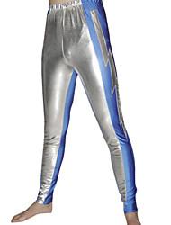 Pantalones metálicos brillantes de plata y azul