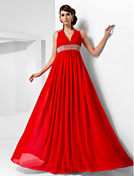 TS Couture® Formal Evening / Military Ball Dress - Ruby Plus Sizes / Petite A-line / Princess High Neck / V-neck Floor-length Chiffon