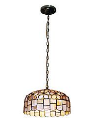 80W classique Tiffany lumière pendante avec la nature Matériel de Shell Shade intégré Bas