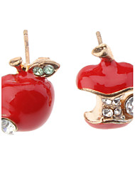Stud Earrings Imitation Diamond Cute Style Simulated Diamond Alloy Apples Red Green Jewelry For Daily