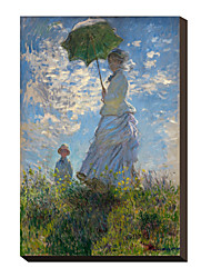 Woman with a Parasol - Madame Monet and Her Son by Claude Monet Famous Stretched Canvas Print