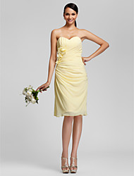 Knee-length Chiffon Bridesmaid Dress - Daffodil Plus Sizes / Petite Sheath/Column Sweetheart / Strapless