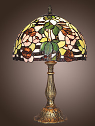 Tiffany Table Light with 1 Light with Flowers Pattern