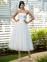 Lanting Bride A-line / Princess Petite / Plus Sizes Wedding Dress-Tea-length Strapless Tulle