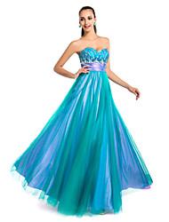 Bainha strapless do assoalho-comprimento de tule vestido de noite / baile de finalistas