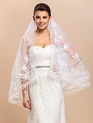 1 Capa floral hermoso velo de novia de la yema del dedo con el cordón Applique Edge