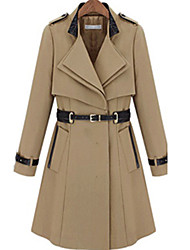 Women's Trench Coat , Work Long Sleeve Nylon