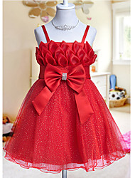 A-line / Ball Gown / Princess Knee-length Flower Girl Dress - Tulle Sleeveless Spaghetti Straps with Bow(s)