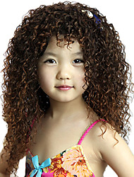 Capless High Quality Synthetic Long Curly Brown Children's Wigs