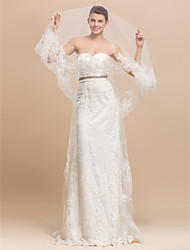 1 Layer Chapel Length Wedding Veil With Lace Applique Edge