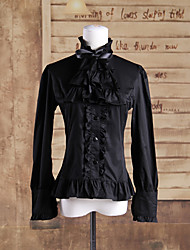 Long Sleeve Black Falbala Cravat Cotton Gothic Lolita Blouse