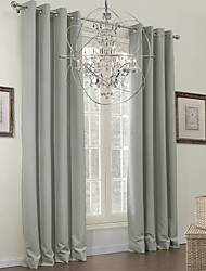(One Panel) Grey Solid Classic Blackout Curtain
