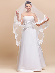 1 Layers Chapel Wedding Veil With Lace Applique Edge