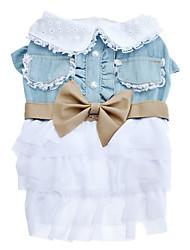 Chien Robe Bleu Vêtements pour Chien Eté Nœud papillon Cosplay