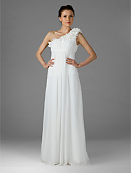 Lanting Bride® Floor-length Chiffon Bridesmaid Dress Sheath / Column One Shoulder Plus Size / Petite with Draping / Ruffles