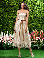 Lanting Bride Tea-length Lace Bridesmaid Dress A-line / Princess Strapless Plus Size / Petite with Bow(s) / Lace / Sash / Ribbon