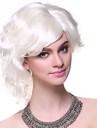 Capless High Quality Synthetic Short Curly White Fluffy Hair Wigs