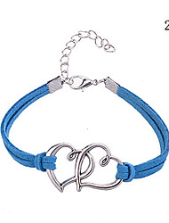 Double Heart Pattern Leather Charm Bracelet Alloy