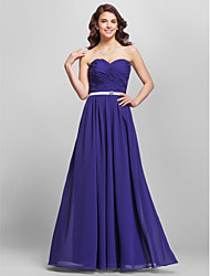 Floor-length Strapless Sweetheart Spaghetti Straps Bridesmaid Dress - Open Back Sleeveless Chiffon
